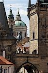 Charles Bridge and Church of St Nicholas, Little Quarter, Prague.    Stock Photo - Premium Rights-Managed, Artist: Arcaid, Code: 845-02725525