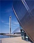 Glasgow Science Centre, Scotland. Tower with Imax in foreground. Architect: Building Design Partnership    Stock Photo - Premium Rights-Managed, Artist: Arcaid, Code: 845-02728515
