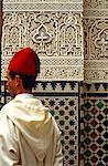 Fez, Morocco man and tiled wall pattern    Stock Photo - Premium Rights-Managed, Artist: Arcaid, Code: 845-02728979