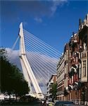 Erasmus Bridge, Rotterdam. 1990 - 1996. Side elevation from a city street showing cables. Architect: UNStudio    Stock Photo - Premium Rights-Managed, Artist: Arcaid, Code: 845-02729530