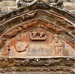 Sculptural relief above a doorway, La Martyre, Brittany. Depicts Mary and Joseph in the stable surrounded by angels.    Stock Photo - Premium Rights-Managed, Artist: Arcaid, Code: 845-02729721