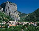 Castlelane, Provence. Village in dramatic landscape at the foot of rocky cliff face.    Stock Photo - Premium Rights-Managed, Artist: Arcaid, Code: 845-02729733