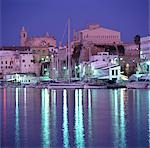 Cuitadella Harbour, Menorca. Night time shot of town    Stock Photo - Premium Rights-Managed, Artist: Arcaid, Code: 845-02729752