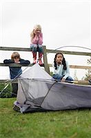 Children with tent Stock Photo - Premium Royalty-Freenull, Code: 649-02733225