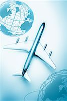 Boeing 707 Model Airplane and Globes    Stock Photo - Premium Royalty-Freenull, Code: 600-02738004