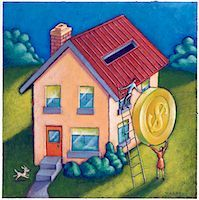 Couple Depositing Coin into Rooftop of House    Stock Photo - Premium Royalty-Freenull, Code: 600-02738041