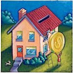 Couple Depositing Coin into Rooftop of House    Stock Photo - Premium Royalty-Free, Artist: James Wardell, Code: 600-02738041
