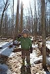 Boy Standing in Forest    Stock Photo - Premium Rights-Managed, Artist: Derek Shapton, Code: 700-02738116