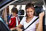 Mom Taking Son to Soccer Game    Stock Photo - Premium Rights-Managed, Artist: SimplyMui, Code: 700-02738851