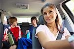 Mom Driving Sons to Karate and Soccer    Stock Photo - Premium Rights-Managed, Artist: SimplyMui, Code: 700-02738854