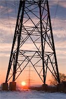 Old Willow Trees and High Voltage Hydro Tower at Sunrise, Siegburg, North Rhine-Westphalia, Germany    Stock Photo - Premium Rights-Managednull, Code: 700-02756701