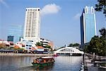 Tourist Boat on the Singapore River by the Boat Quay, Singapore    Stock Photo - Premium Rights-Managed, Artist: F. Lukasseck, Code: 700-02756726