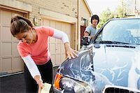 Mother and Teenage Son Washing Car    Stock Photo - Premium Rights-Managednull, Code: 700-02757202