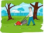 Illustration of Man Mowing the Lawn Stock Photo - Premium Royalty-Free, Artist: Lisa Brdar, Code: 600-02757419