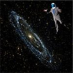 Businessman in outer space Stock Photo - Premium Royalty-Freenull, Code: 614-02762742