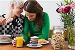 A lesbian couple having breakfast