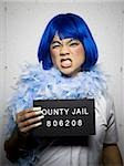 Mug shot of man in dress and feather boa Stock Photo - Premium Royalty-Free, Artist: AWL Images, Code: 640-02764981