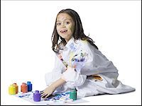 finger painting - Young girl finger painting Stock Photo - Premium Royalty-Freenull, Code: 640-02765121