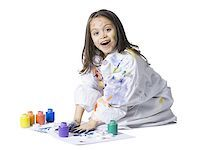 finger painting - Young girl finger painting Stock Photo - Premium Royalty-Freenull, Code: 640-02765122