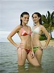Portrait of two teenage girls standing in the sea Stock Photo - Premium Royalty-Freenull, Code: 640-02766210