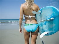 female rear end - Rear view of a young woman holding a surf board Stock Photo - Premium Royalty-Freenull, Code: 640-02766864
