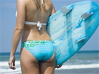 female rear end - Rear view of a young woman holding a surf board Stock Photo - Premium Royalty-Freenull, Code: 640-02766865