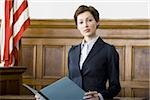 Portrait of a female lawyer standing in a courtroom and smiling Stock Photo - Premium Royalty-Freenull, Code: 640-02767845