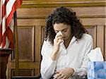 An upset female witness sitting in a courtroom Stock Photo - Premium Royalty-Free, Artist: Arcaid, Code: 640-02767849