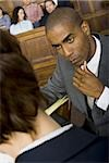 High angle view of a male lawyer in a courtroom during a trial Stock Photo - Premium Royalty-Freenull, Code: 640-02767864