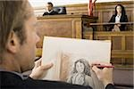Close-up of a man drawing a sketch of a witness in a courtroom Stock Photo - Premium Royalty-Free, Artist: Arcaid, Code: 640-02767882