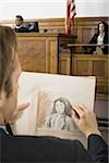 Close-up of a man drawing a sketch of a witness in a courtroom Stock Photo - Premium Royalty-Free, Artist: Aluma Images, Code: 640-02767883