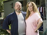 Overweight couple in a trailer park Stock Photo - Premium Royalty-Freenull, Code: 640-02769443