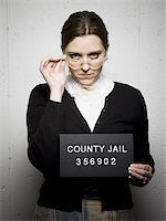 Mug shot of librarian Stock Photo - Premium Royalty-Freenull, Code: 640-02770799