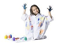 finger painting - Young girl finger painting Stock Photo - Premium Royalty-Freenull, Code: 640-02772744