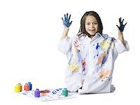 finger painting - Young girl finger painting Stock Photo - Premium Royalty-Freenull, Code: 640-02772745
