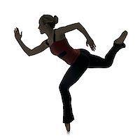 Side profile silhouette of female dancer Stock Photo - Premium Royalty-Freenull, Code: 640-02773095