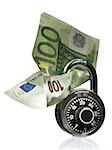 Combination lock with one hundred Euro banknote Stock Photo - Premium Royalty-Free, Artist: Westend61, Code: 640-02774594