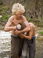 pre-teen boy models - two boys playing in a river. Stock Photo - Premium Royalty-Freenull, Code: 640-02777467