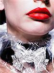 Close up of red, glossy lips