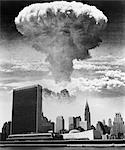 1950s 1960s MUSHROOM CLOUD OVER UNITED NATIONS BUILDING NEW YORK CITY WATERFRONT SKYLINE    Stock Photo - Premium Rights-Managed, Artist: ClassicStock, Code: 846-02791725