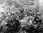 1880s ILLUSTRATION CROWDED PASSENGER CAR RAILROAD COACH TRAVEL 19TH CENTURY TRAIN AMERICA FROM HARPERS MAGAZINE AUGUST 1885    Stock Photo - Premium Rights-Managed, Artist: ClassicStock, Code: 846-02791749