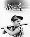 1930s MONTAGE OF BOY AT BAT WITH PROFESSIONAL BASEBALL GAME IN PROGRESS    Stock Photo - Premium Rights-Managed, Artist: ClassicStock, Code: 846-02791947