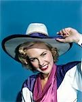 1940s SMILING BLOND WOMAN WEARING COSTUME COWBOY HAT