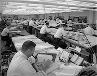 1960s MEN IN ENGINEERING OFFICE AT DRAFTING TABLES    Stock Photo - Premium Rights-Managednull, Code: 846-02792428