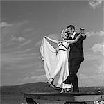 1930s 1940s COUPLE BALLROOM DANCERS ON LAKE PIER
