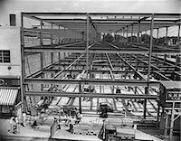 1950s COMMERCIAL SITE OF BUILDING CONSTRUCTION WITH STEEL GIRDER FRAME ERECTED MEN WORKING BELOW    Stock Photo - Premium Rights-Managednull, Code: 846-02793360