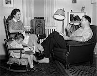 1930s-40s FAMILY RELAXING NEAR RADIO    Stock Photo - Premium Rights-Managednull, Code: 846-02793679