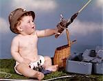 BABY WITH FISHING HAT AND GEAR HOLDING FISHING ROD STUDIO TACKLE BOX CREEL BASKET
