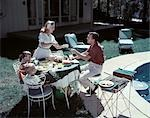 1950s FAMILY IN BACKYARD HAVING PICNIC FROM GRILL NEAR SWIMMING POOL