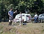 1960s FAMILY CAMPING TRAILER RV FISHING PICNIC